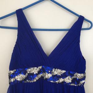 Aidan Mattox Royal Blue Silk V-Neck Long Dress
